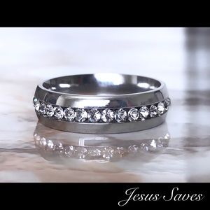 Other - 6MM Stainless Steel Single Row CZ Ring Band